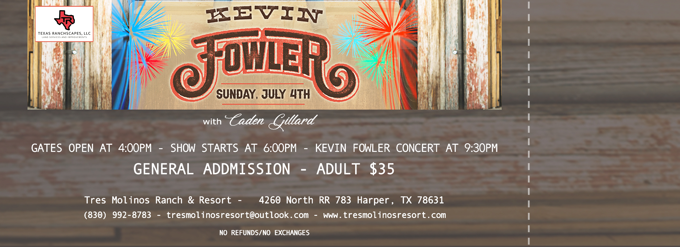 KEVIN FOWLER CONCERT TICKETS